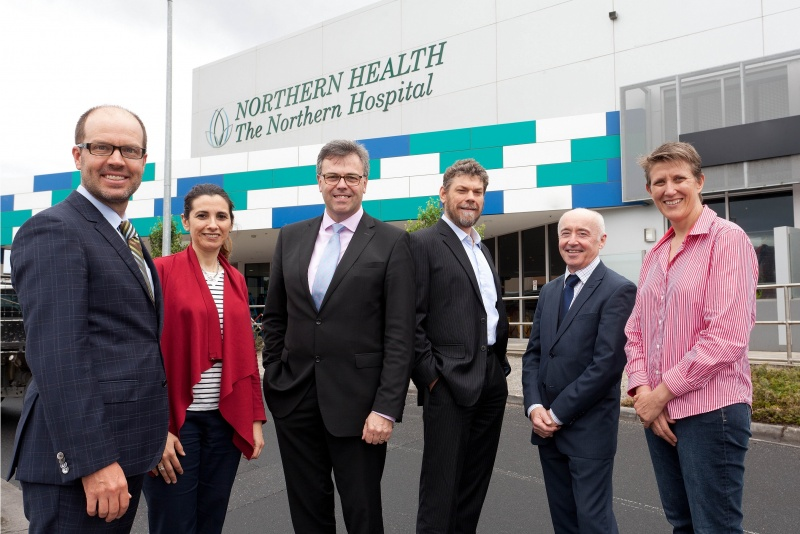 (L-R) Dave Crockett, Cirdan with Alistair Hamilton, Invest NI (3rd from left) and John McCaffrey (2nd from right) with representatives from Northern Health.